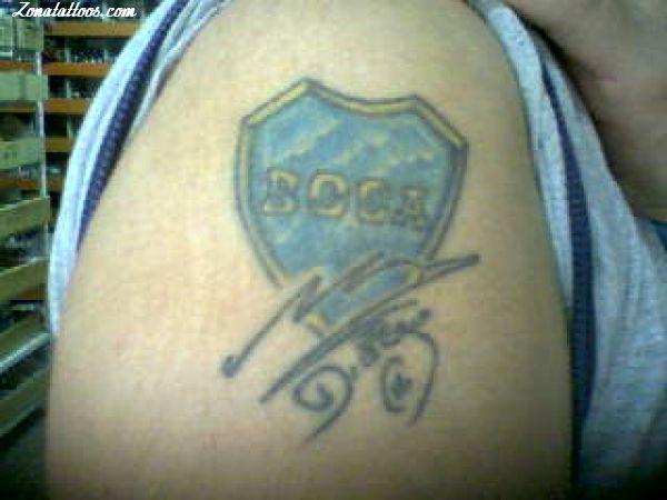 Tattoo Of Boca Juniors Badges