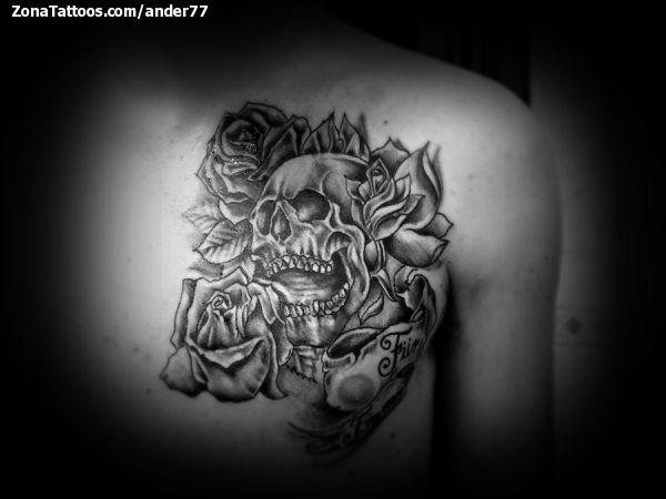 Tattoo Of Skulls Roses