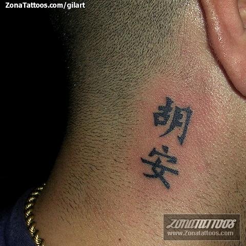 Tatuaje De Cuello Chino Letras