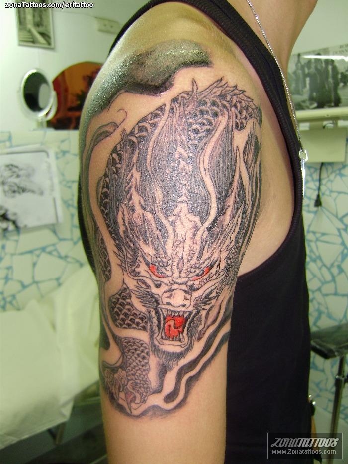 Tatuaje De Brazo Dragones Orientales