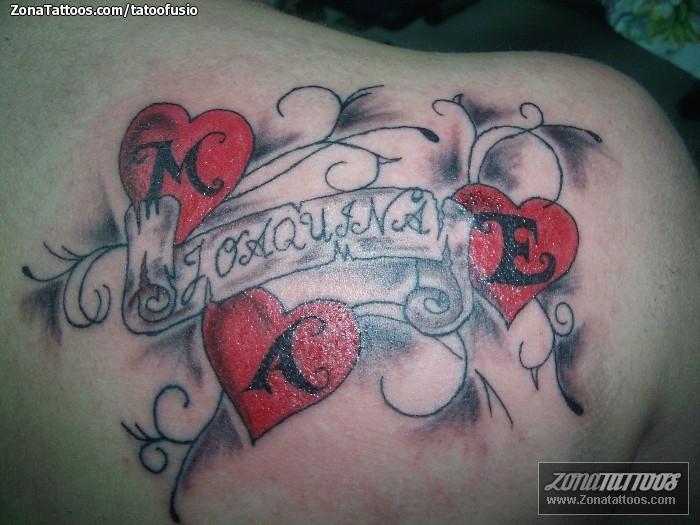 Tattoos de corazones con nombres - Imagui