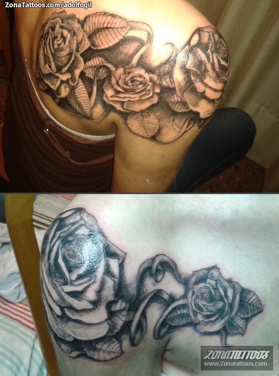 Tatuaje De Flores Hombro Rosas