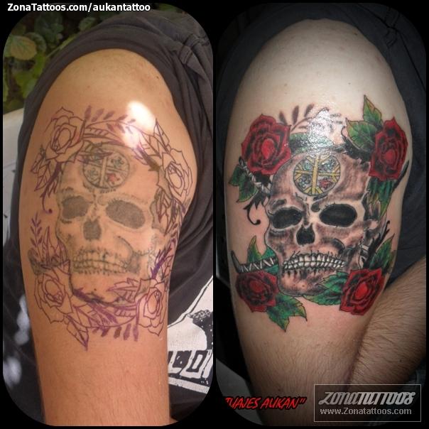 Tatuaje de aukantattoo - Calaveras Rosas
