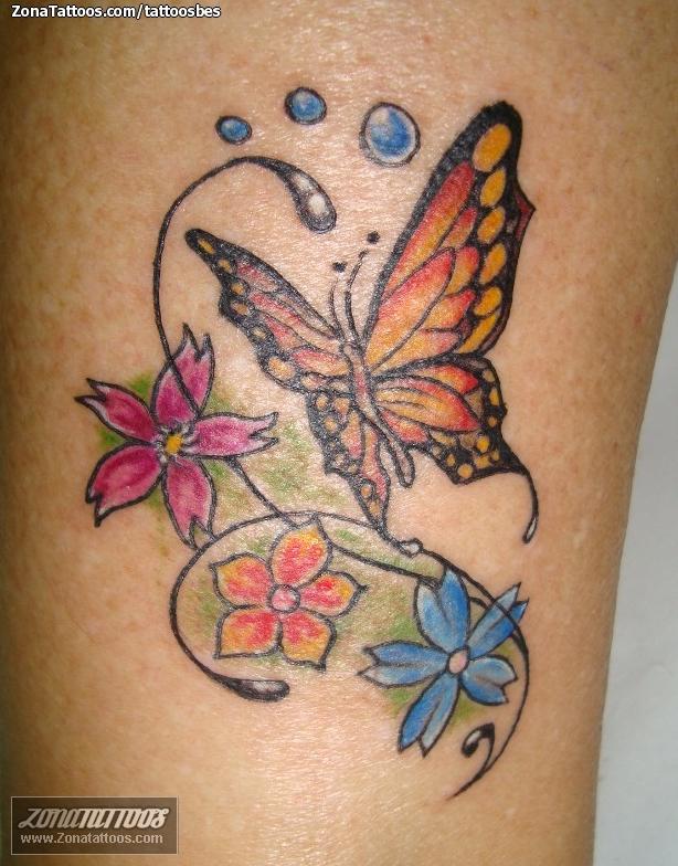 Tatuaje De Flores Mariposas Insectos