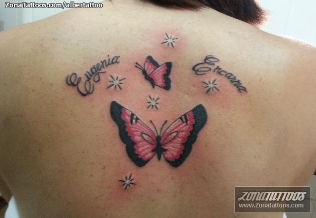 Tatuaje De Mariposas Insectos Letras