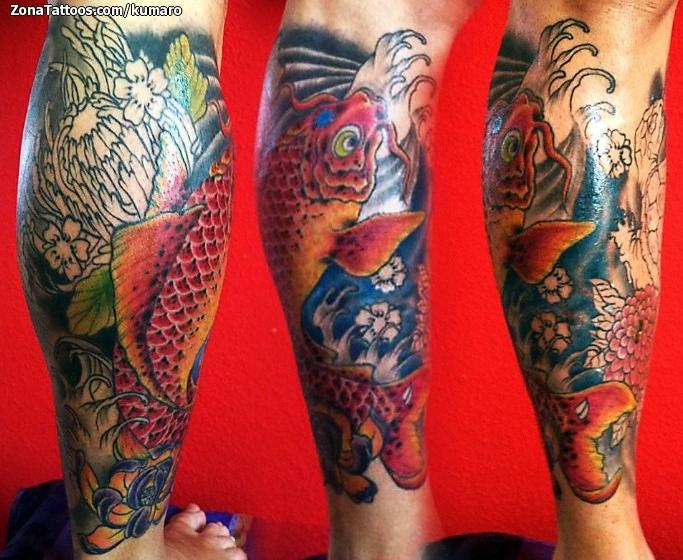 tatuaje de koi peces orientales