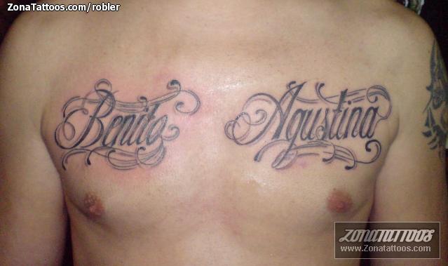 Tatuaje De Nombres Letras Pecho