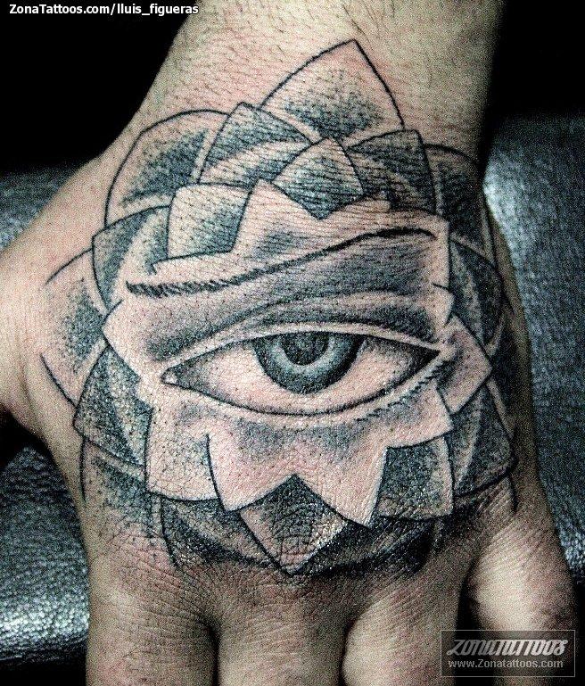 Tattoo Of Eyes Pointillism Hand