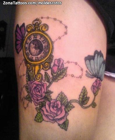 Tatuaje de relojes flores rosas - Relojes grandes de pared vintage ...
