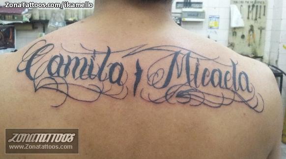 Tatuaje De Letras Nombres Espalda