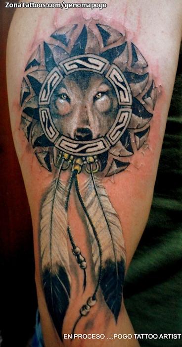 Tatuaje De Lobos Animales Indios
