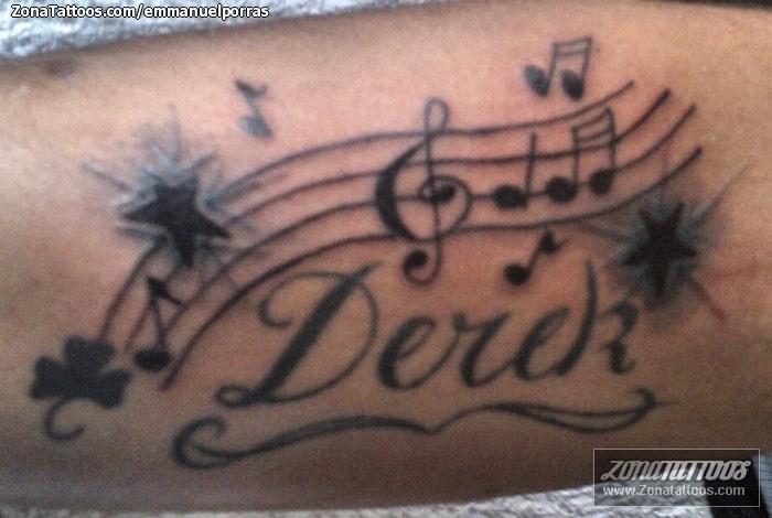 Foto tatuaje Nombres, Partituras, Notas Musicales