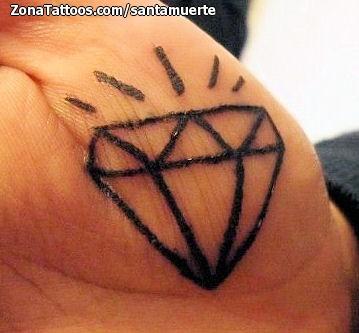 Tatuaje De Diamantes Mano