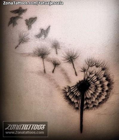 Tatuaje De Diente De León Aves Siluetas