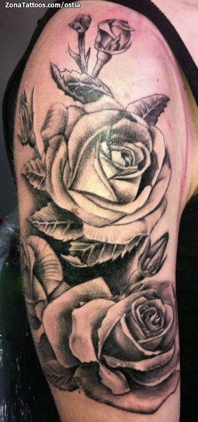 Tatuaje De Rosas Flores Brazo