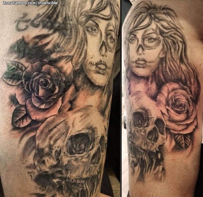 Tatuaje De Catrinas Calaveras Rosas