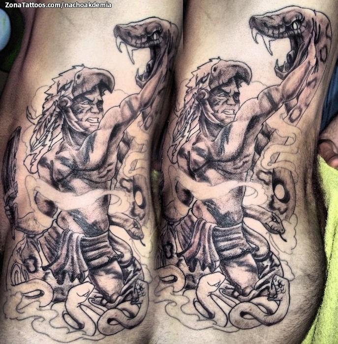 Tatuaje De Guerreros Serpientes Aztecas