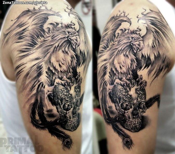 Tatuaje De Ave Fénix Calaveras Fantasía