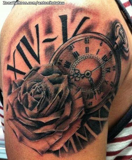 Tatuaje de rosa y reloj en el brazo for Reloj para tatuar