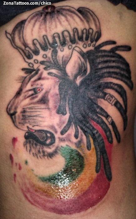 Tatuaje De Leones Animales Rastafaris