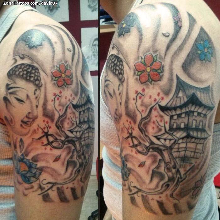 Tatuaje De Budas árboles Flores