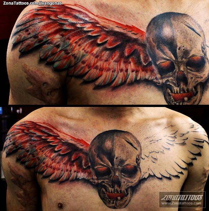 Tatuaje De Calaveras Alas Pecho