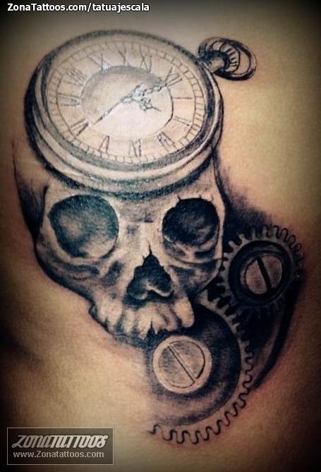 Tatuaje De Calaveras Relojes Engranajes