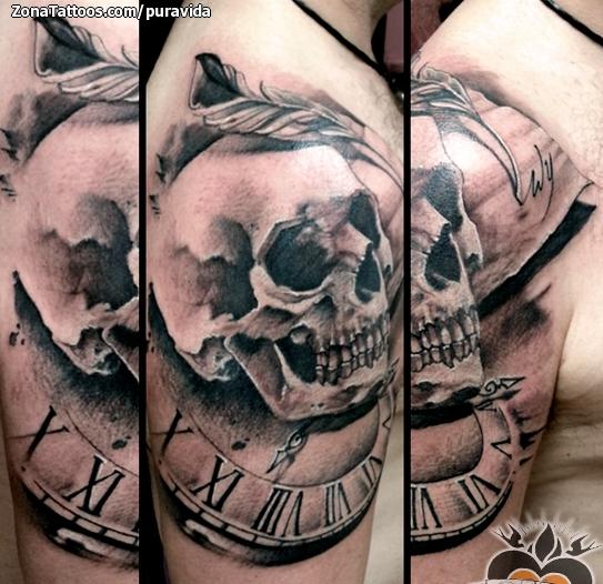 Tatuaje De Calaveras Relojes Plumas