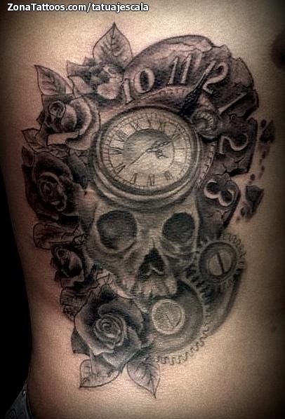 Tatuaje De Relojes Rosas Calaveras