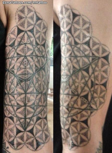 Tattoo Of Flower Of Life Geometrics Pointillism
