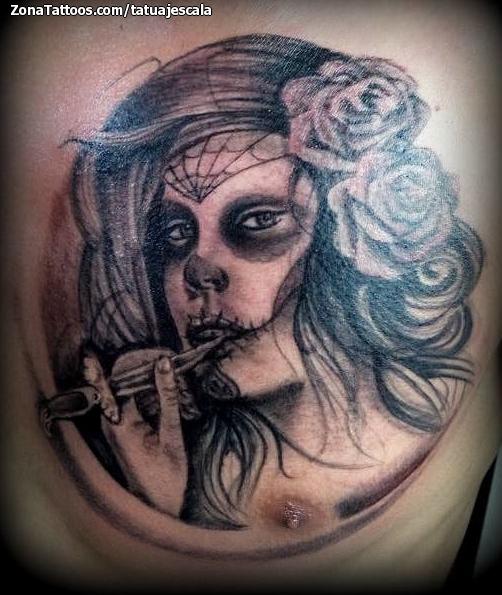 Foto tatuaje Catrinas, Rosas, Pecho
