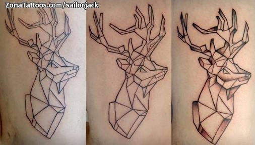 Tatuaje De Ciervos Animales Geométricos