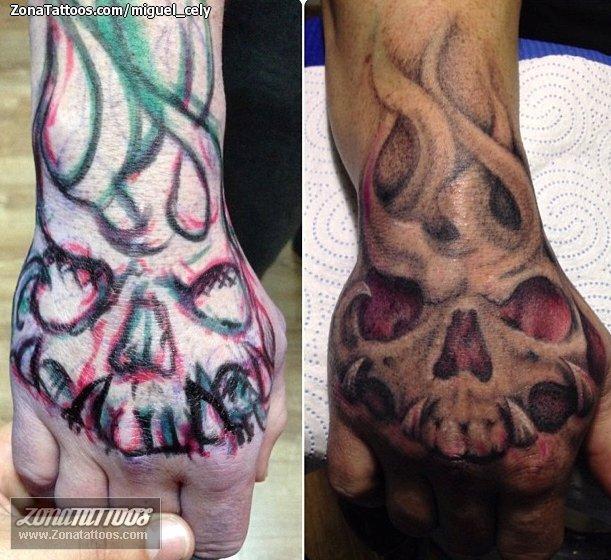 Tatuaje De Calaveras Mano Góticos