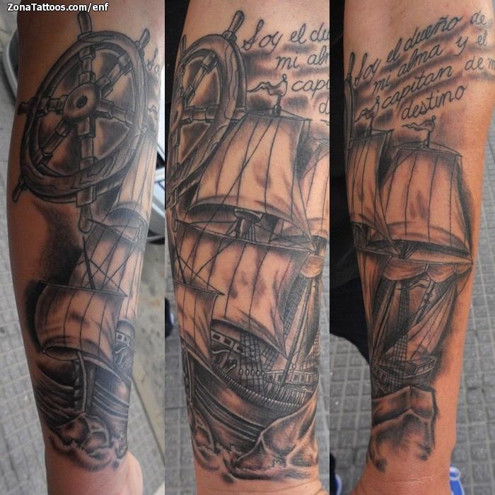 Tatuaje De Barcos Timones Antebrazo