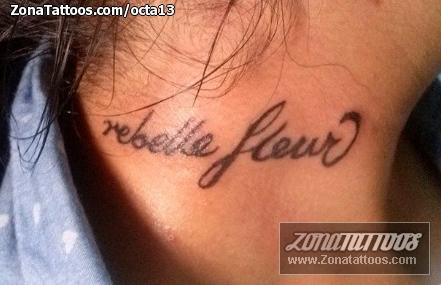 Tatuaje De Letras Frases Cuello