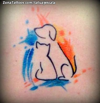 Tatuaje De Perros Gatos Acuarela