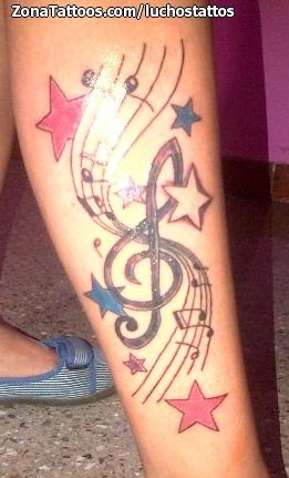Tatuaje De Notas Musicales Estrellas Pierna