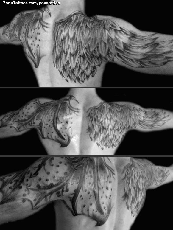Tatuaje De Alas Espalda Plumas