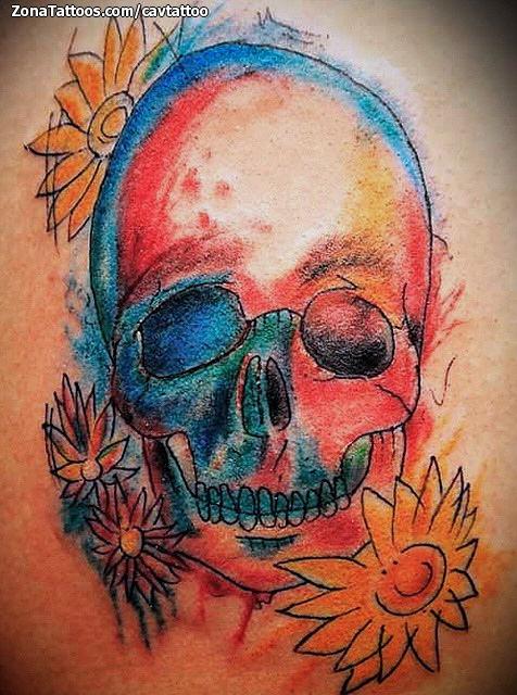 Tatuaje De Calaveras Flores Acuarela
