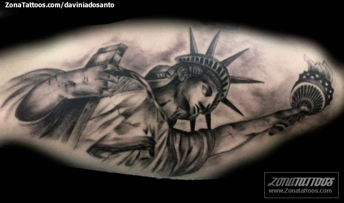 Tatuaje De Monumentos Estatua De La Libertad
