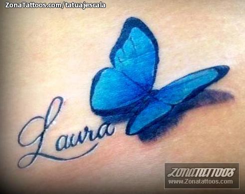 Tatuaje De Mariposas Nombres Laura