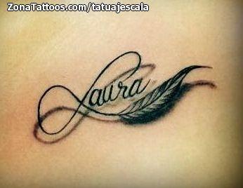 Tatuaje de Nombres, Laura, Plumas