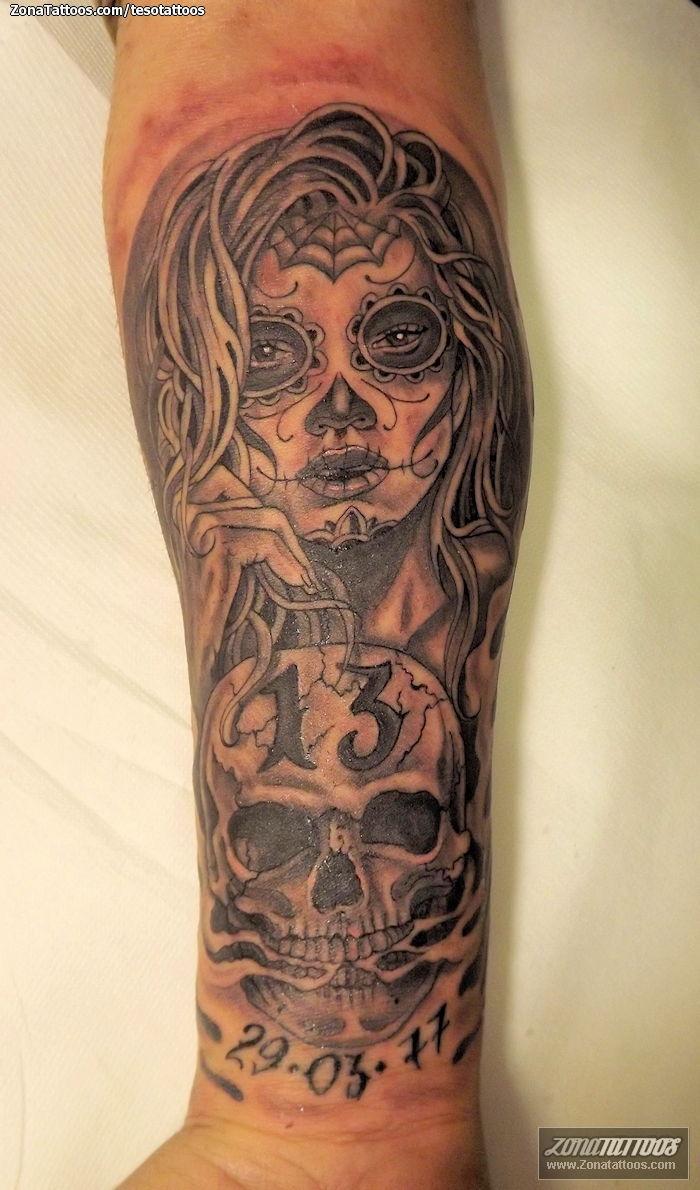 Foto tatuaje Catrinas, Calaveras, Antebrazo