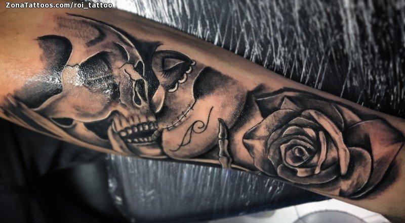Tatuaje De Calaveras Catrinas Rosas