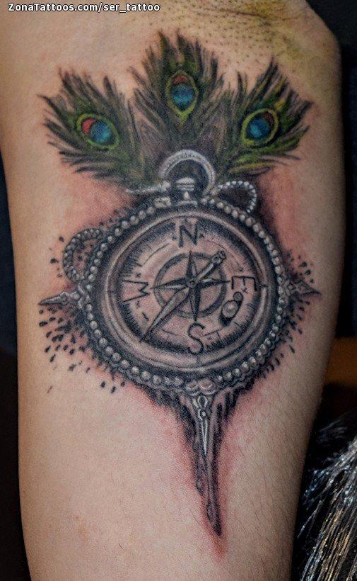 Tatuaje De Brújulas Plumas Brazo