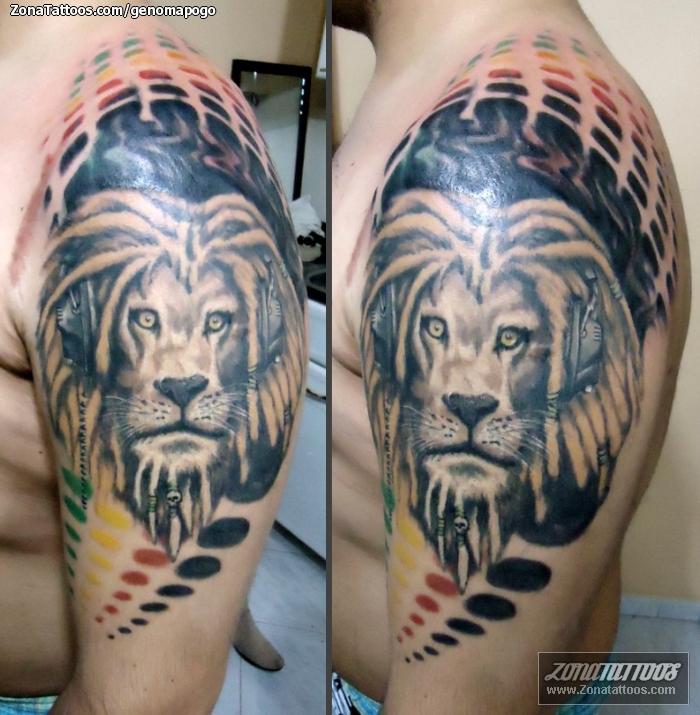 Tatuaje De Animales Leones Auriculares