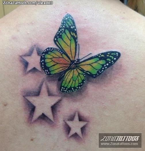 Tatuaje de Mariposas Insectos Estrellas