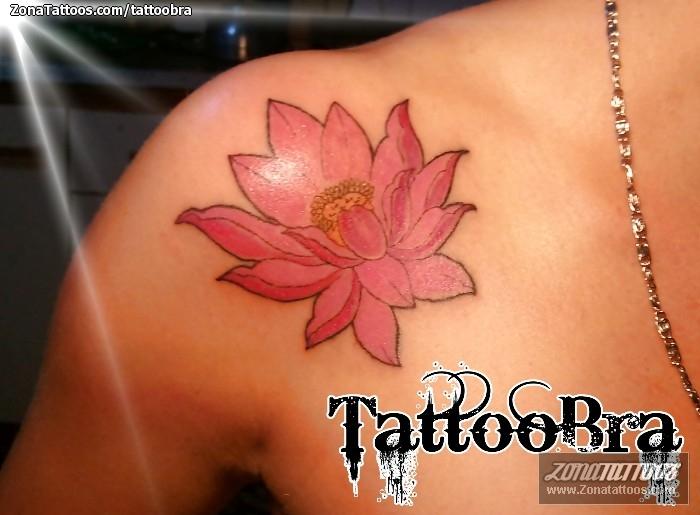 Tatuaje De Lotos Flores Hombro
