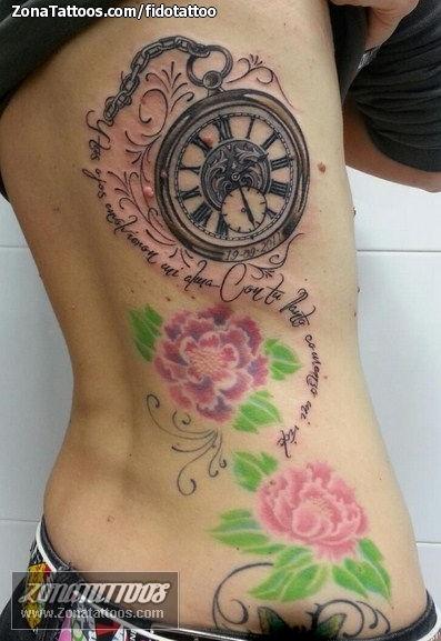Tatuaje de relojes flores espalda for Reloj para tatuar