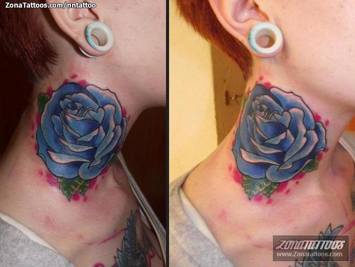 Tatuaje De Rosas Flores Cuello